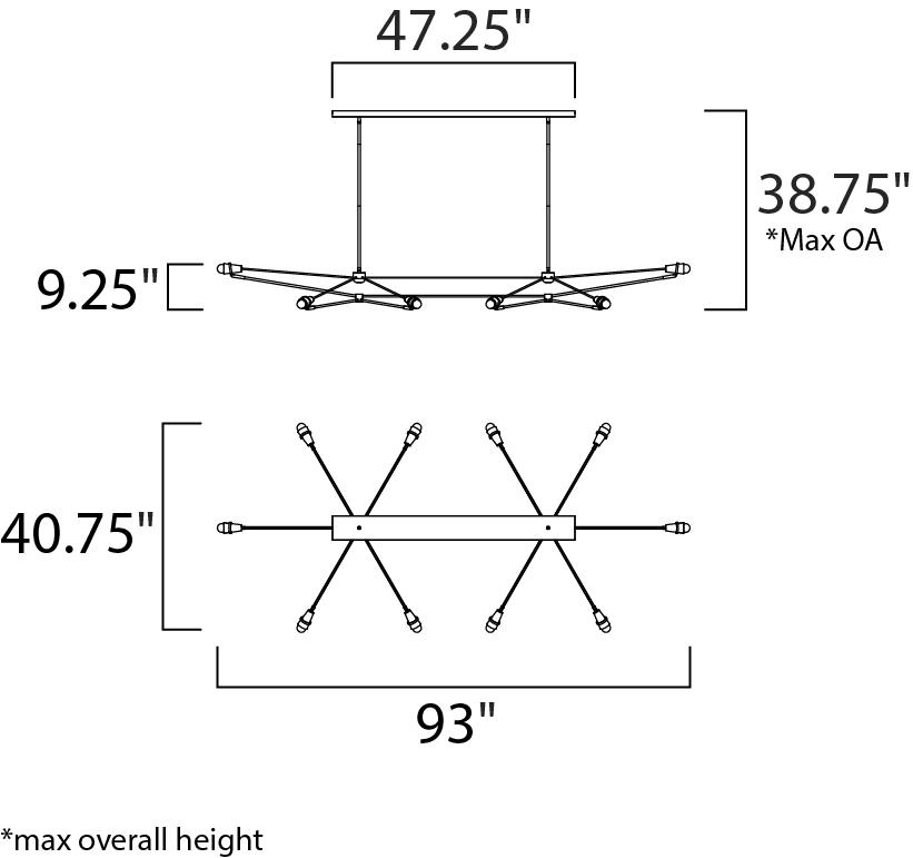 ET2 Bounce LED Linear Pendant Model: E23105-BKPC Line Drawing