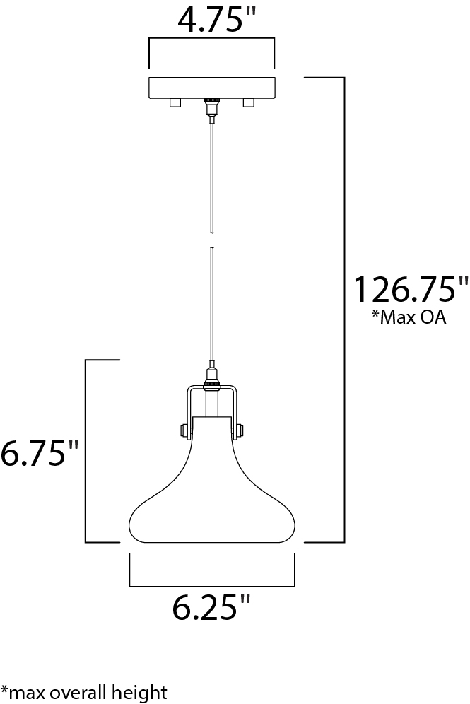 ET2 Kem Single Pendant Model: E24301-18PC Line Drawing