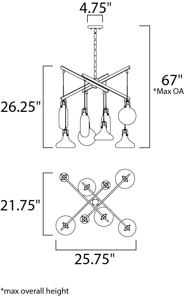 ET2 Kem Multi Light Pendant Model: E24308-18PC Line Drawing