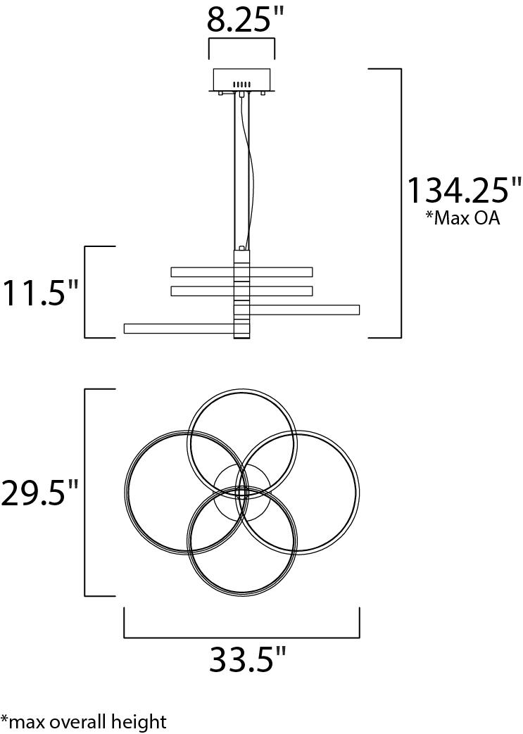 ET2 Hoopla Multi Light Pendant Model: E24326-BKGLD Line Drawing