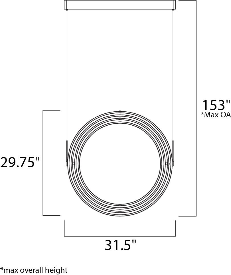 ET2 Swank Gyro LED Single Pendant Model: E24586-MW Line Drawing