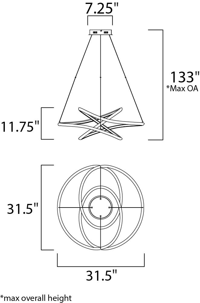 ET2 Twisted Single Pendant Model: E30645-MW Line Drawing