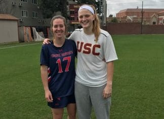 Former foothill teammates Claire Healy and Hannah Upshaw reunite after the USC St. Mary's Women's lacrosse game.