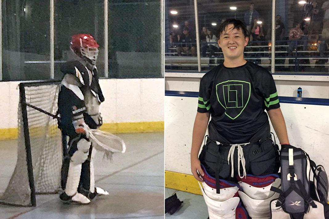 Cobras goalie Will Parducci; Leverage goalie Kenji Mushaney
