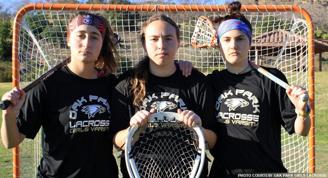 Oak Park girls lacrosse 2018 captains: Yael Kaufman, Alexis Robinson, Harper Wayne