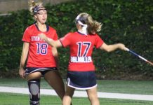 Courtney Murphy (left) celebrates with Kylie Ohlmiller
