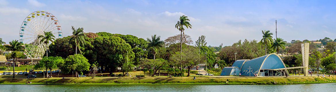 Vista aérea do Mineirão e Mineirinho na Pampulha, principal ponto turístico de Belo Horizonte