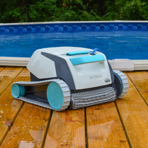 Active 10 Robotic Pool Cleaner Next to Swimming Pool