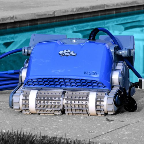 Dolphin M 500 Robotic Pool Cleaner Next to Swimming Pool with Accessories