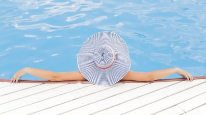 woman resting in pool