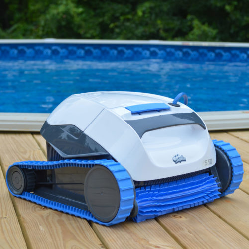 Dolphin S50 Robotic Pool Cleaner by an Above Ground Pool