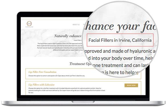 Dermatology website design and SEO by Mediaboom.