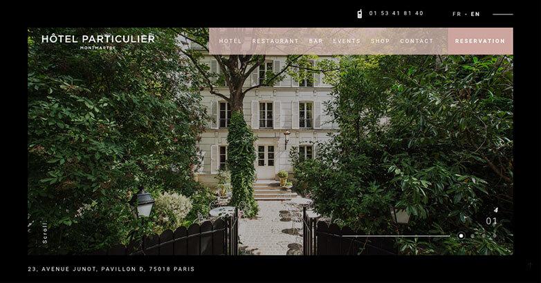 Hotel Particulier Homepage Website Design