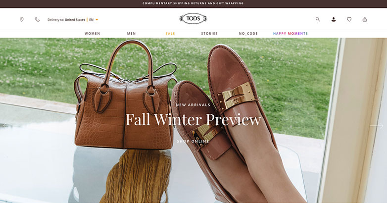 Tod's Luxury Fashion Website Design
