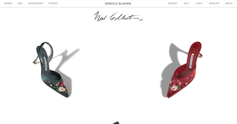 Luxury website design for Manolo Blahnik