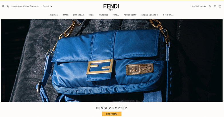 luxury site design Fendi
