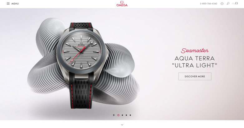 luxury watch website design for omega