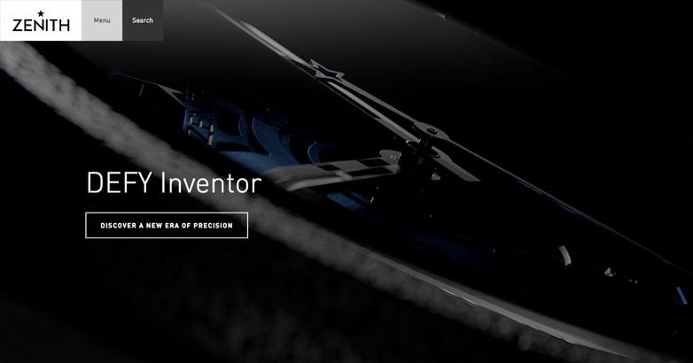 luxury watch website design for zenith