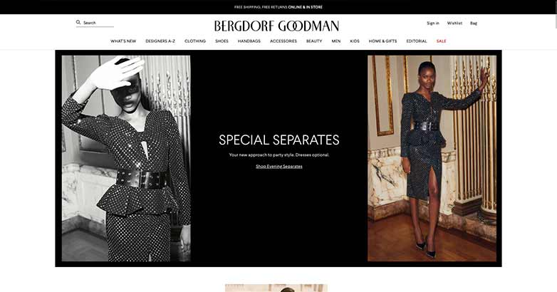bergdore goodman website for luxury shopping