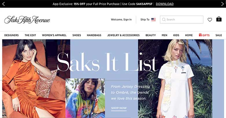 saks fifth avennue best online shop