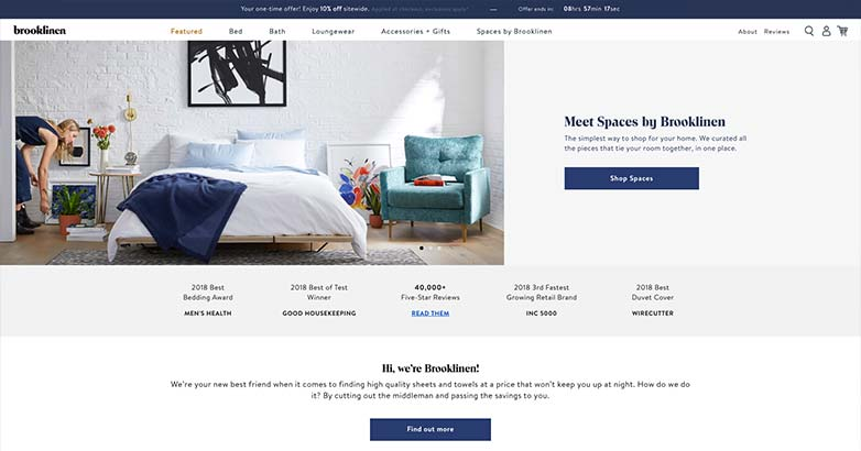 luxury shopping online from brooklinen