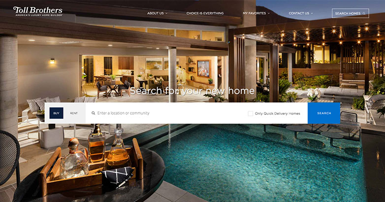 construction website for toll brothers