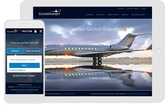 The new Guardian Jet website by aviation marketing team Mediaboom.