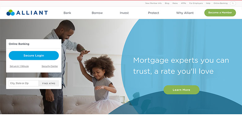 alliant bank website design
