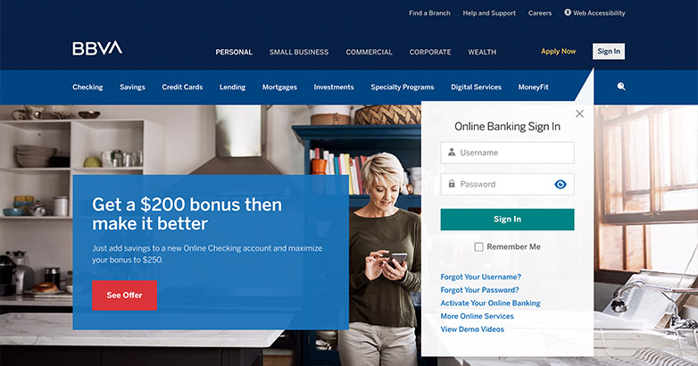 bank website design for bbva