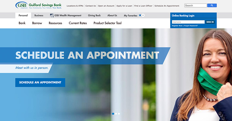 local bank website design
