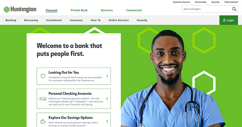 huntington bank website design