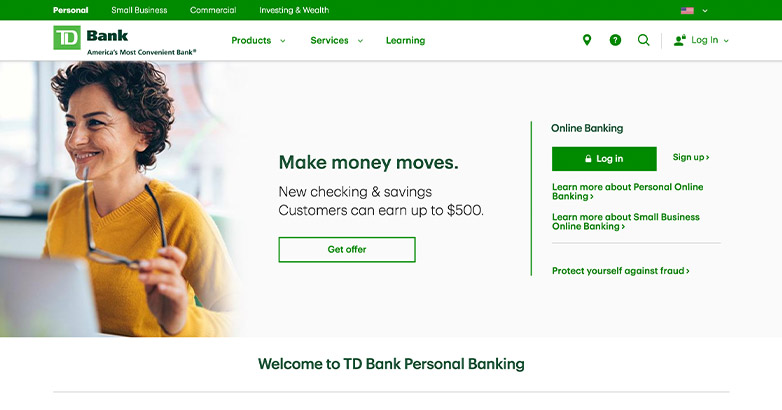 website design for td bank