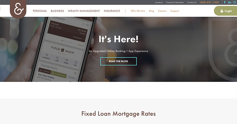 field and main bank website design