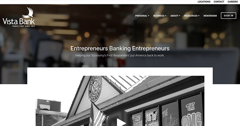 vista bank web design