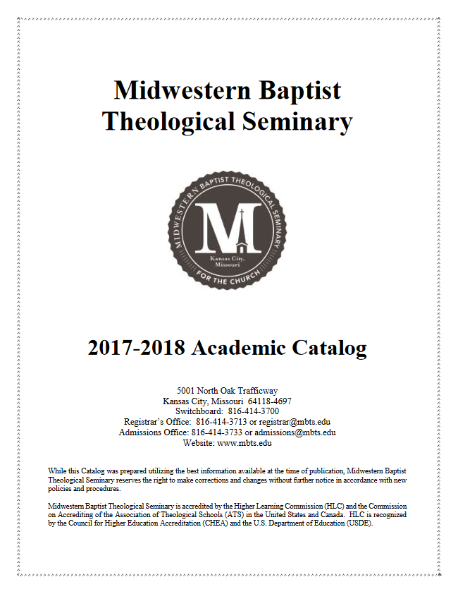 2017-18 Midwestern Seminary Academic Catalog