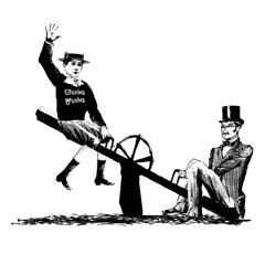 men on seesaw