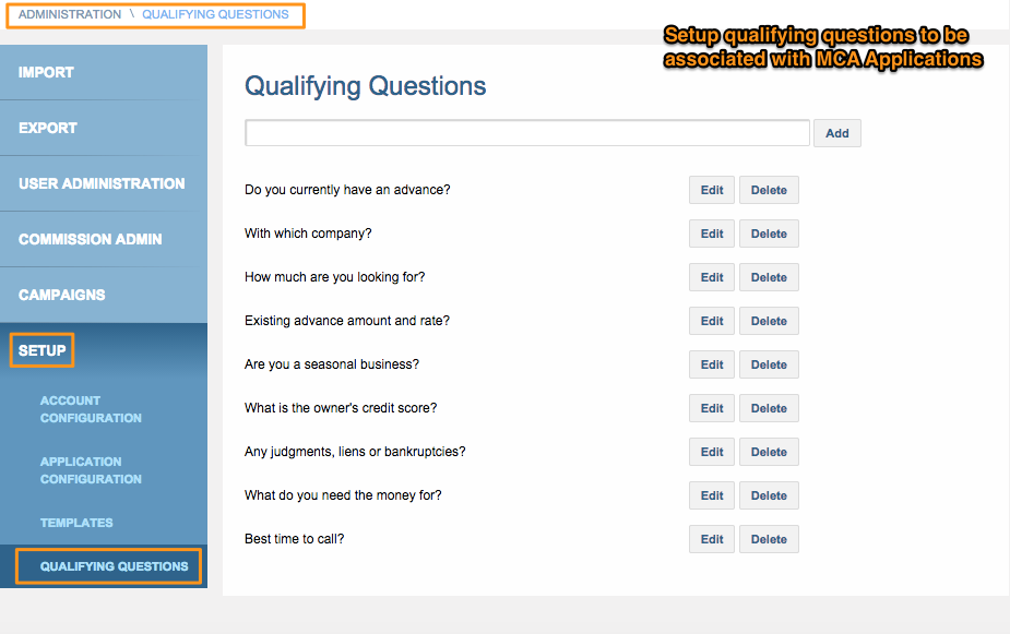 Qualifying Question Setup