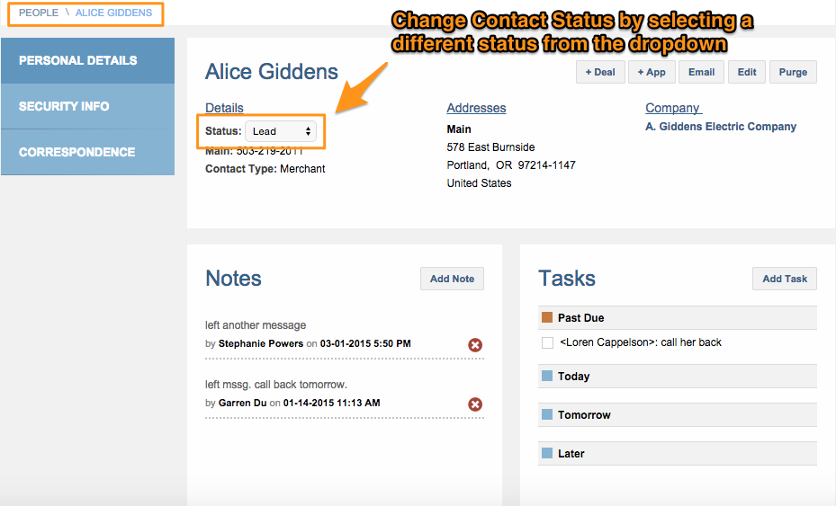 change contact status