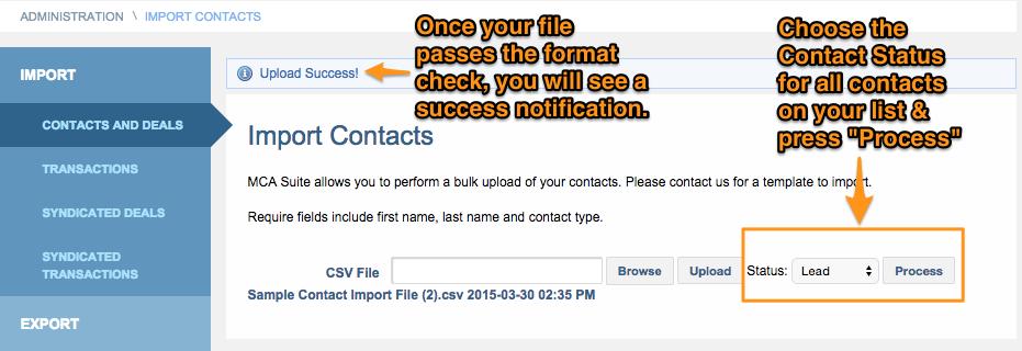 Upload contact validation
