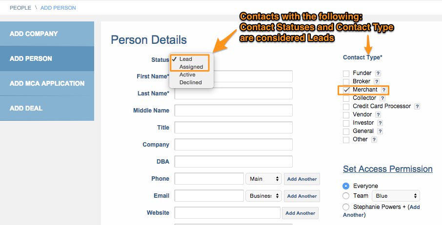Contact status lead and assigned