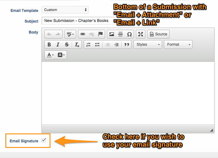 Include Email signature with submission