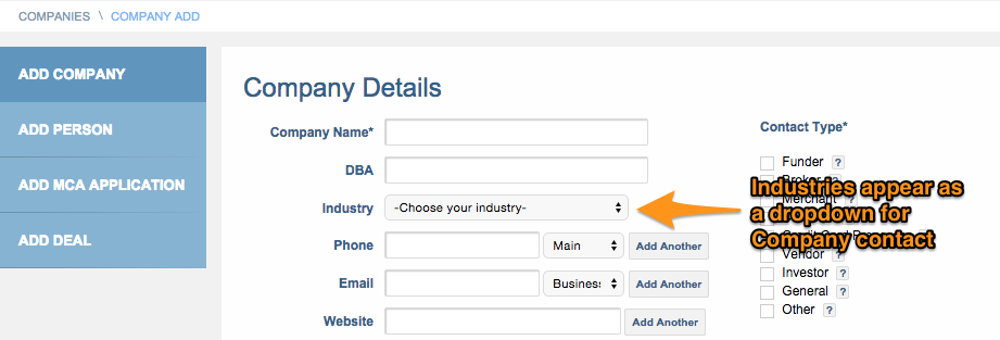 Industry Dropdown