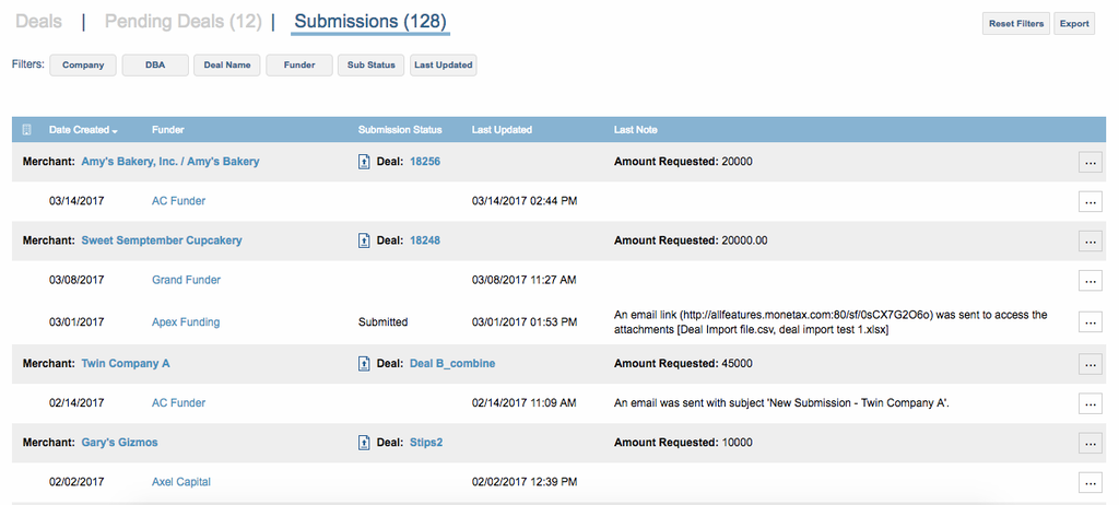 MCA Suite Submission Tracking
