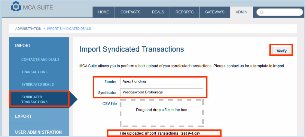syndication transaction upload