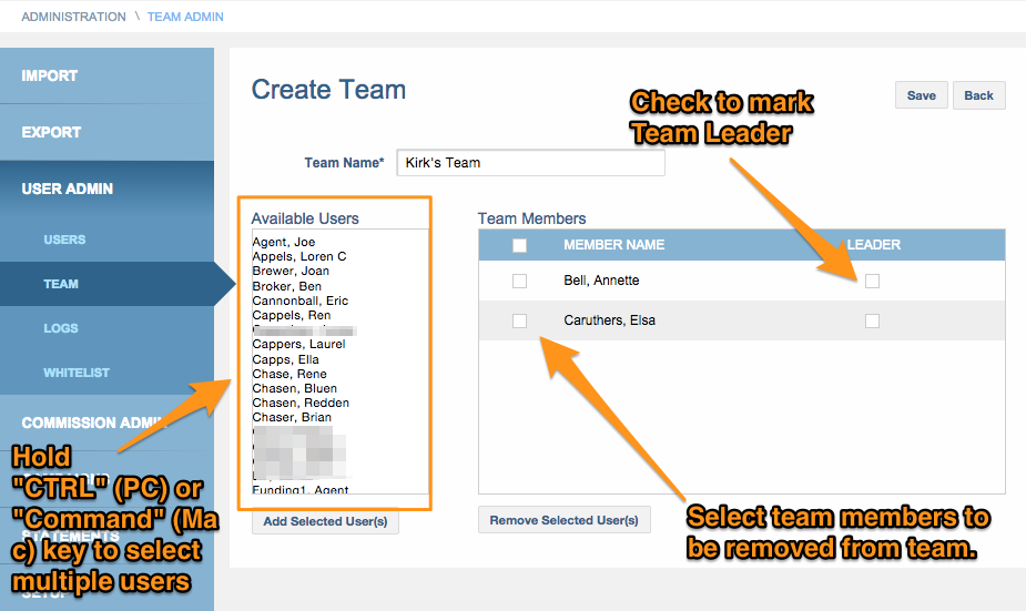 Manage Team