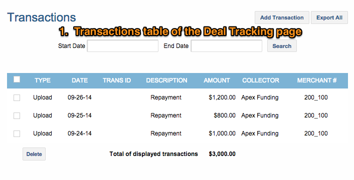 Deal Tracking Transaction table