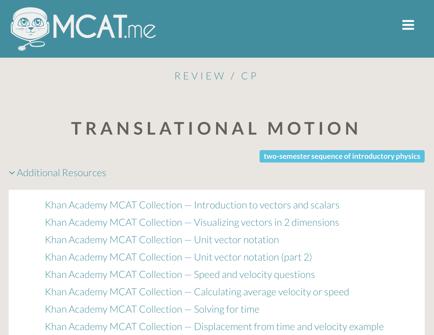 MCAT Topics Review and Resources