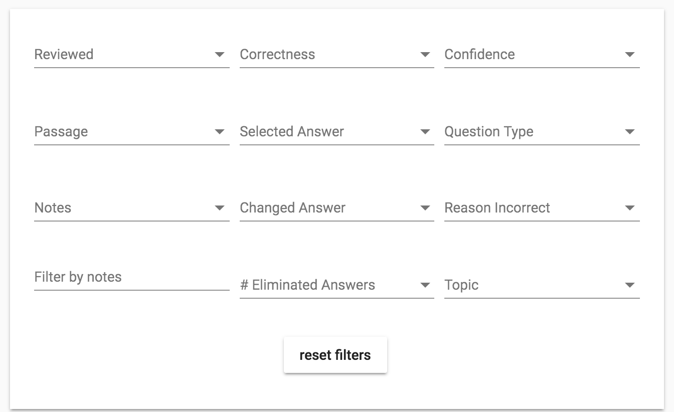 Practice test result question filters