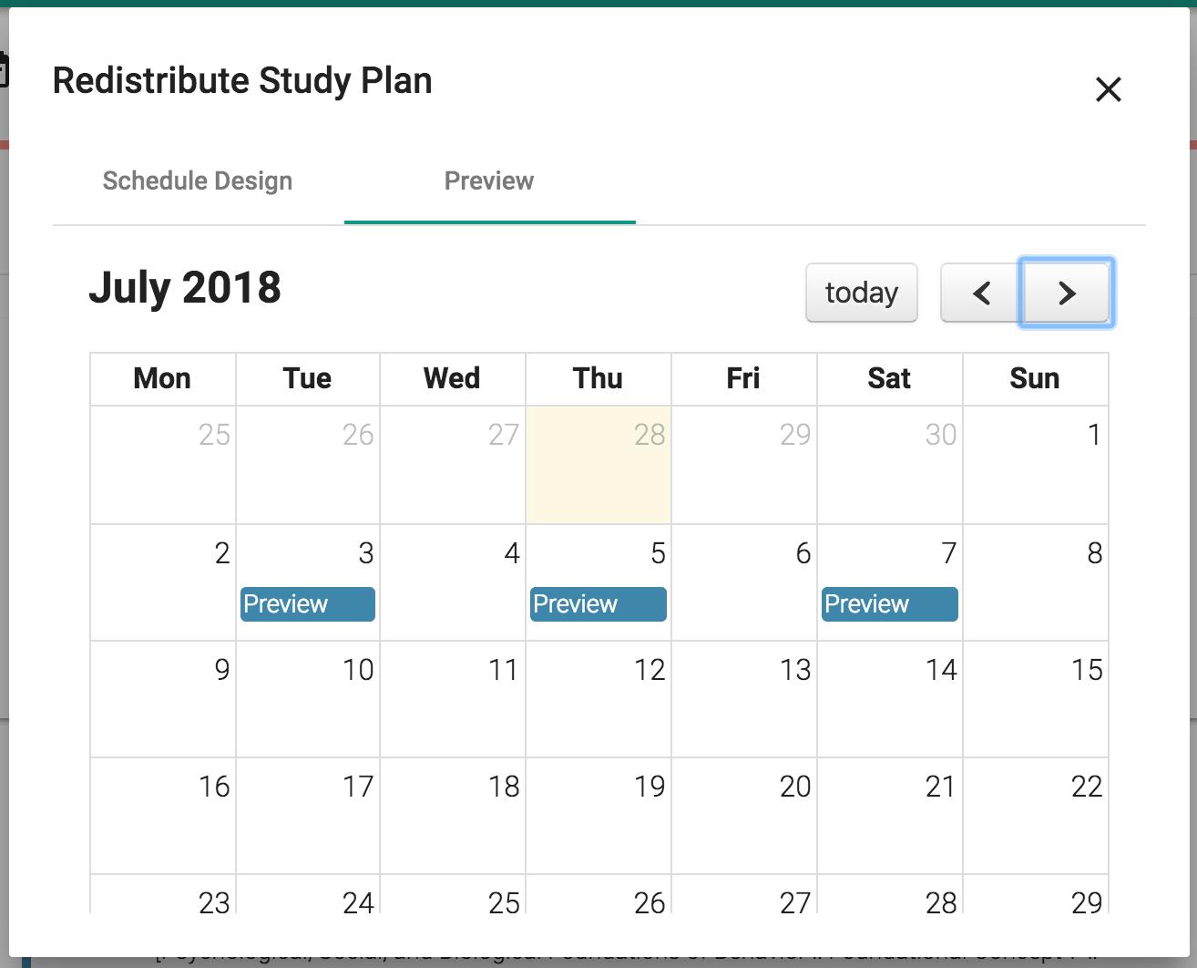 Redistribute study plan dialog
