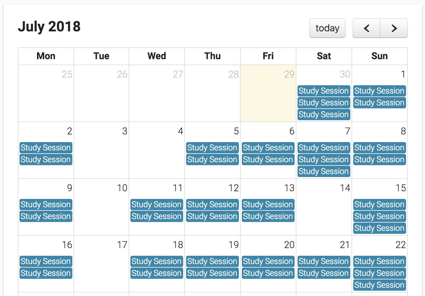 Study Plan Builder Calendar July example